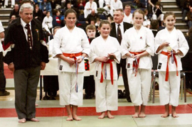 Darcy Peel, Emmanuelle Davies, Menna Langston and Ffion Langston - 42nd Portsmouth Open Karate Tournament