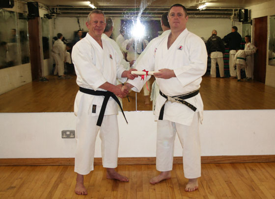 Michael Hogan awarded 5th Dan by Sensei Hazard 7th Dan