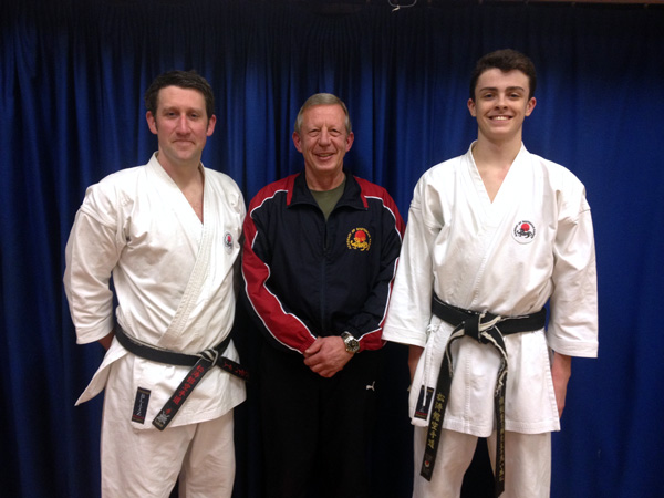 ASK Course & Dan Grading : 3rd Dan - Mark Raven (left), Sensei Hazard 7th Dan (centre), 1st Dan - Kieran Jones (right)